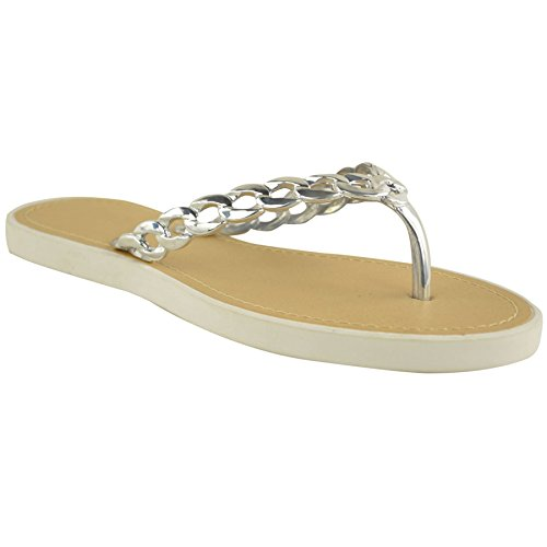 FANTASIA BOUTIQUE ® Ladies Flat Slip On Chain Detail Strap Thong Fashion Holiday Smart Sandal Shoes White / Silver AbPTfo