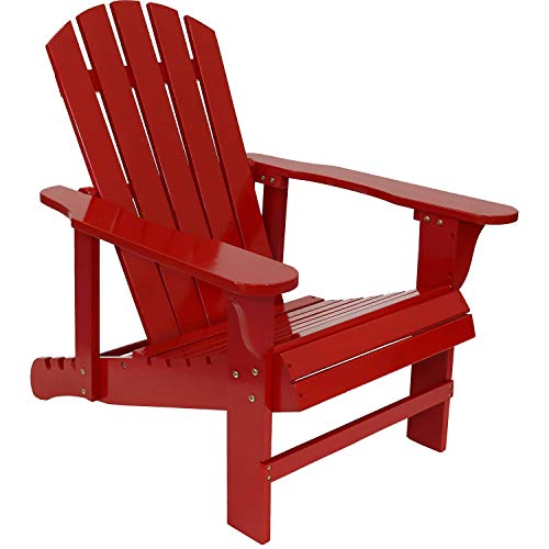 (Sunnydaze Wooden Outdoor Adirondack Chair with Adjustable Backrest, 250-Pound Capacity, Red)