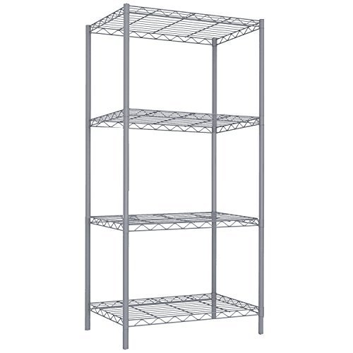 - Home Basics Wire Shelving Storage Unit (4 Tier, Grey)