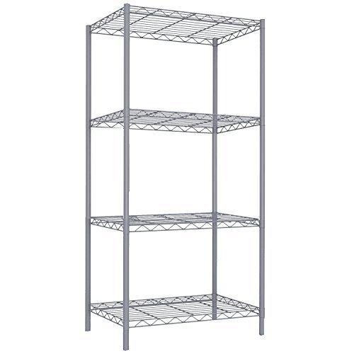 Home Basics Wire Shelving Storage Unit (4 Tier, Grey) ()