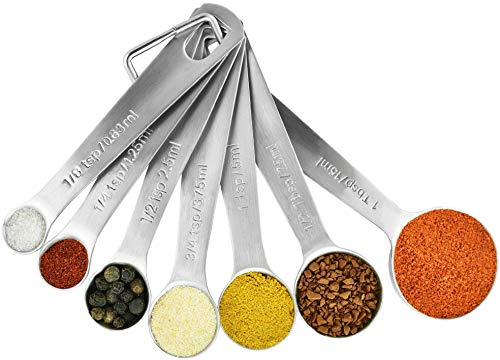 Stainless Steel Measuring Spoons Set of 7: Metal Spoon Sets for Dry & Liquid Ingredients Measurement - Home Kitchen Gadget, Tool & Utensils for Cooking & Baking - Perfect Wedding or Housewarming Gift