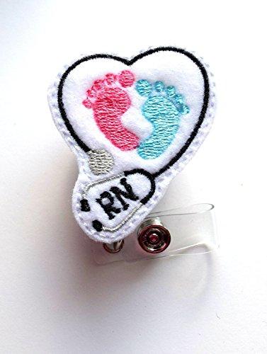 RN Heart Baby Feet - Retractable ID Badge Reel - MD Badge Holder - Cute Badge Reel - Nurse Badge Holder - Nursing Badge Clip - Felt Badge-AlligatorClip