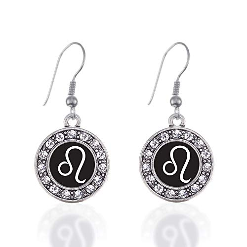 Zodiac Gemstone Earrings - Inspired Silver - Leo Zodiac Charm Earrings for Women - Silver Circle Charm French Hook Drop Earrings with Cubic Zirconia Jewelry