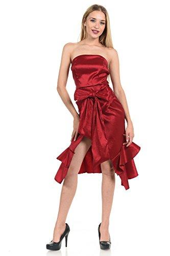 Line 6ix Women's Bowtie Detail Princess Seam Taffeta Tube Dress LD-313 (Small, Wine)