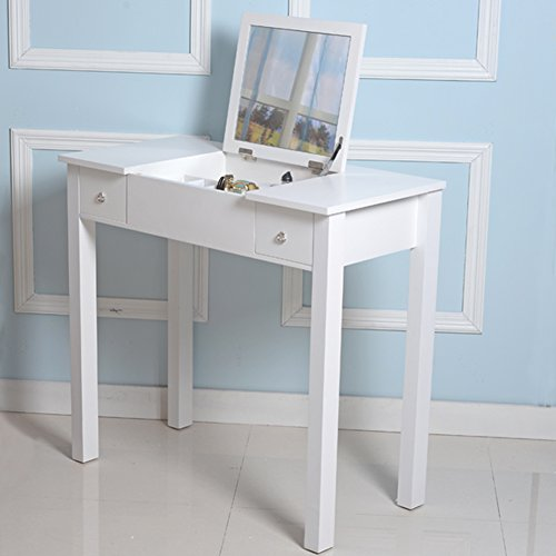Organizedlife White Vanity Sets with Stool Mirror Dressing Table Wooden Makeup Cabinet Jewelry Armoire