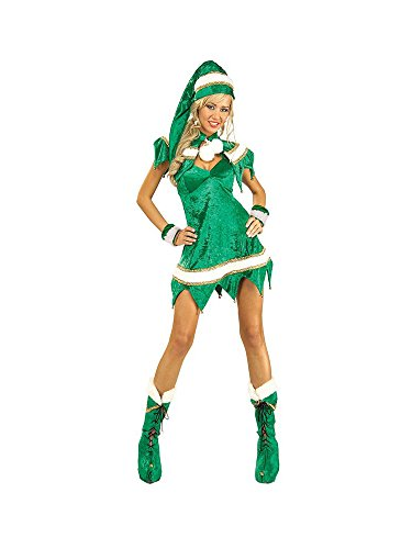 (Secret Wishes Green Elf 5-Piece Costume, Green, Standard)