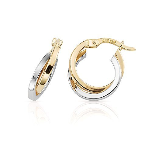 2017 NEW STYLE 14K YELLOW AND WHITE GOLD HIGH POLISH SMALL HOOP EARRINGS FOR WOMEN (Gold Polish Small High)