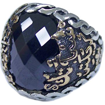 Falcon Jewelry Sterling Silver Men Ring, Islamic Ring, Onyx Stone ()