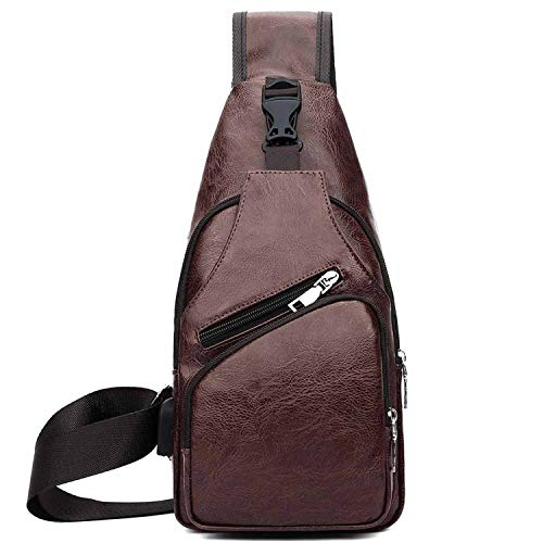 Recycled Vertical Messenger Bag - Leather Casual Set Series USB Charging Man Messenger Bag With Wallet Vintage Headphone Hole Anti-theft Chest Bag