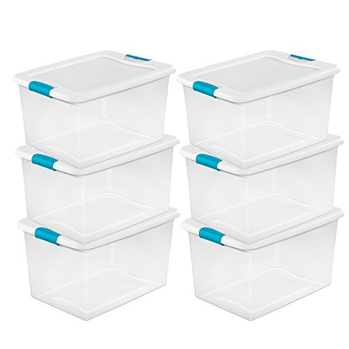 Sterilite 64 Quart Clear Storage Tote W/Lid, 23-3/4x16x13-1/2 - Lot of 6 by STERILITE
