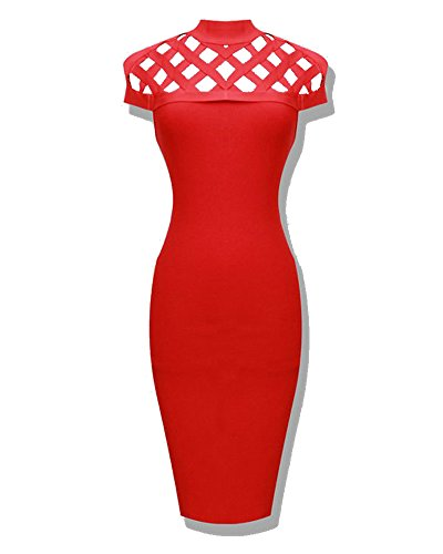 Whoinshop Women's High Neck Lattice Bodycon Midi Bandage Dress Red XS