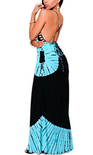 252c420c15c0 Kleider Damen Sommer Strand Elegant Sommerkleider Lang Vintage Hippie  Drucken Bekleidung Modisch Dresses Strandkleid Ärmellos V ...