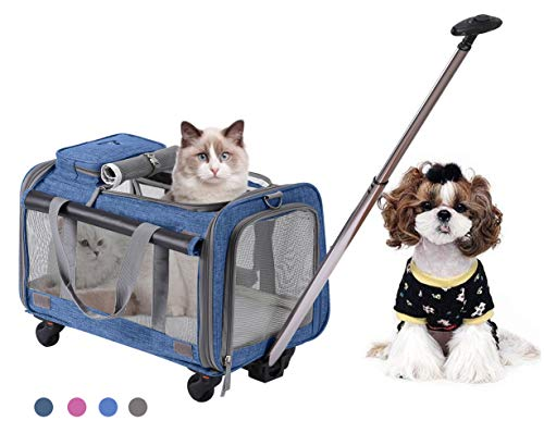 MOVEPEAK PET Carrier with Wheel, Luxury Pet Bag Strollers with Comfortable Fleece Mat for Travel, Hiking,Camping, Designed for Cats, Dogs, Kittens, Puppies, 360° Swivel Mute - Large Wheels Crate On Dog
