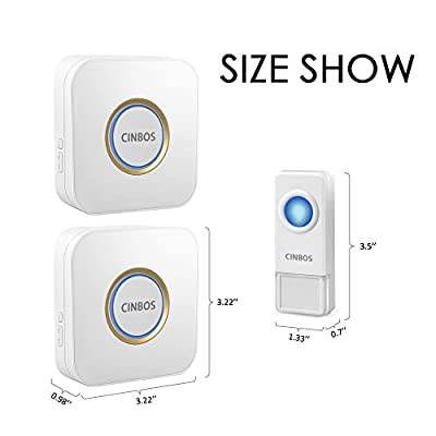 Cinbos Model B9 Wireless Doorbell, Waterproof Chime Kit, 1000 Feet Operating, LED Indicator, 52 Chimes, 4 Level Volume, 2 Plugin No Battery Required Receiver and 1 Remote Push Button Transmitter