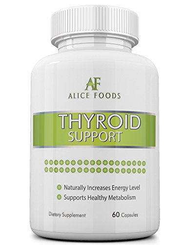Alice Foods thyroïde soutien supplément avec iode + Guide « Troubles de la thyroïde » - ingrédients naturels de première qualité - améliore les niveaux d'énergie et métabolisme - Pack de 60 Capsules - parfait pour les hommes et les femmes