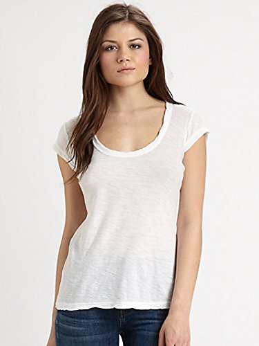 JAMES PERSE CASUAL SHEER CAP SLEEVE TEE IN WHITE 3 James Cap Sleeve T-shirt