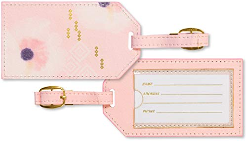 C.R. Gibson Women's White, Pink, and Gold Leatherette Luggage Tag, 2.5