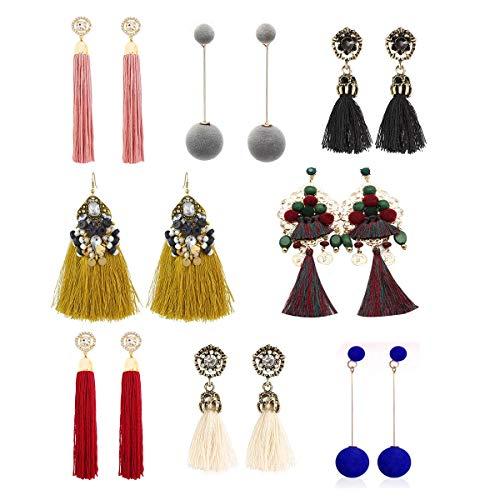(LANTAI 8 Pairs Bohemian Colorful Long Fringe Tassel Earrings Set-Sparkle Rhinestone Fan Hoop Tassel Earrings for Women Girls Statement Earrings)