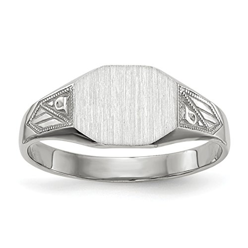 Roy Rose Jewelry Closed Solid Back Signet Ring Rectangle Shape Custom Personailzed with Free Engraving Available of Initials ~ Size 7.25 in Solid 14K White Gold ()