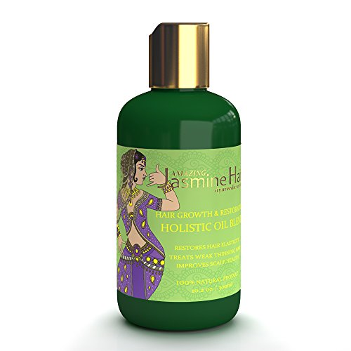 Amazing Jasmine Hair Growth & Restoration Holistic Oil Blend for Hair Elasticity / Treats Weak Thinning Hair / Improves the Scalp Health 10.2 Oz by Amazing Jasmine Hair