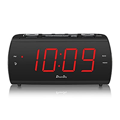 """DreamSky Digital Alarm Clock Radio with USB Charging Port and FM Radios, Earphone Jack, Large 1.8"""" LED Display with Dimmer, Snooze, Sleep Timer, Plug in Clock for Bedroom."""