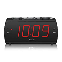 DreamSky Digital Alarm Clock Radio with USB Charging Port and FM Radios , Earphone Jack , Large 1.8  LED Display with Dimmer, Snooze , Sleep Timer , Plug in Clock for Bedroom.