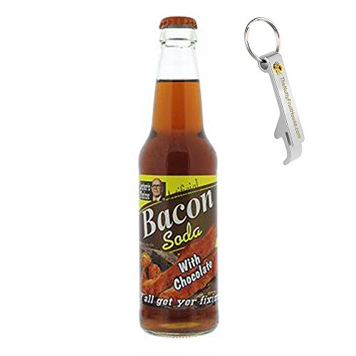 Lester's Fixins Chocolate Bacon Soda Pop 12-Ounce Bottle 1 Count (With Exclusive Stainless Steel Bottle (Bacon Flavor Soda)