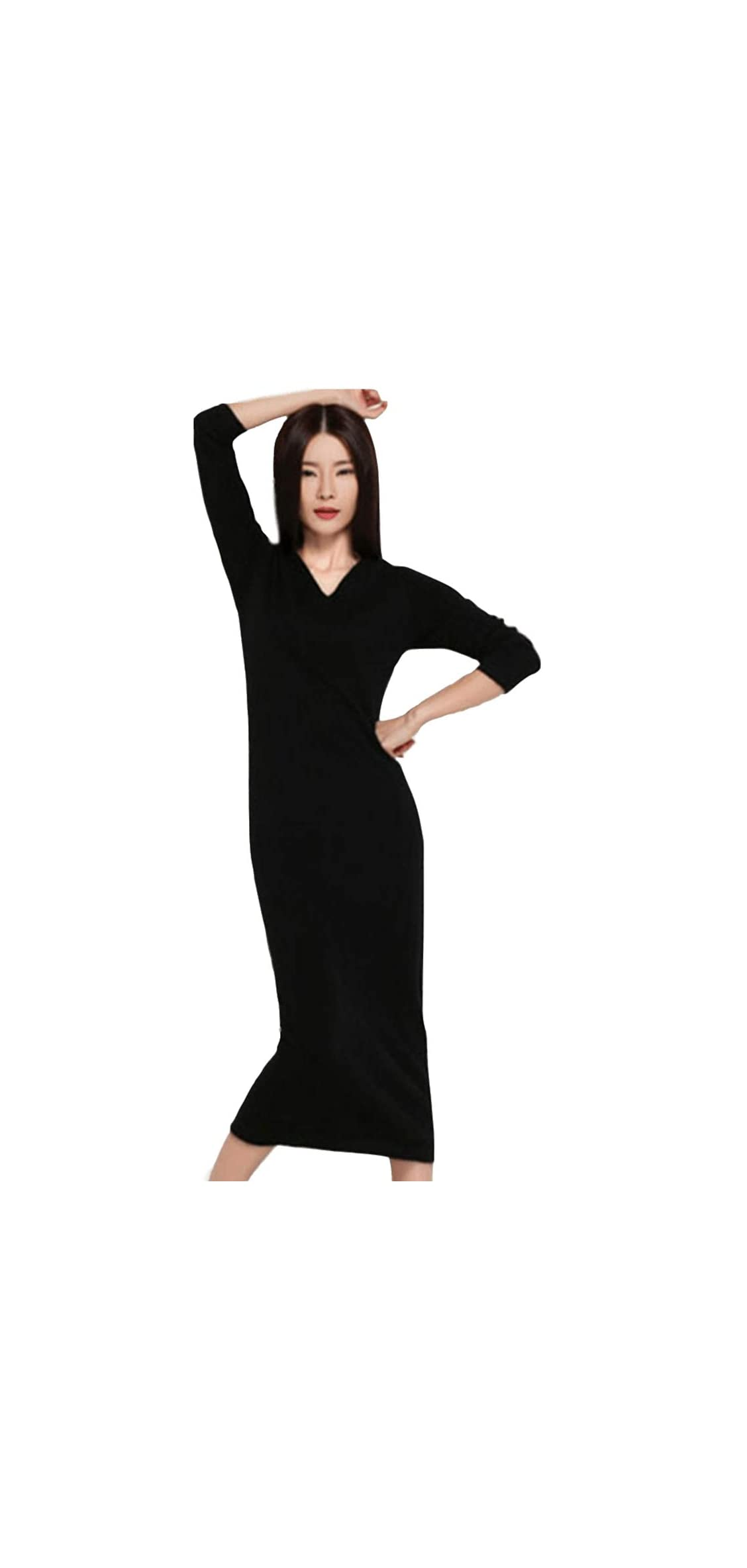 Womens Sweater Dress Vneck Solid Knit Cashmere Long Ankle