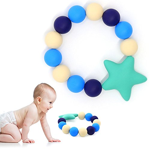 HiGuard Baby Teether Ring - BPA Free Silicone Teething Beads Bracelet for Baby Infant and Toddler - Stylish & Safe Baby Gum Pain Relief Teether (Bead Ring Patterns)