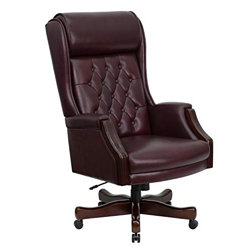 Presidential High Back Chair - A Line Furniture Presidential High Back Tufted Burgundy Leather Adjustable Swivel Office Chair with Leather Padded Mahogany Wood Arms and Base