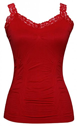 Womens Lace Trim Camisoles - Red