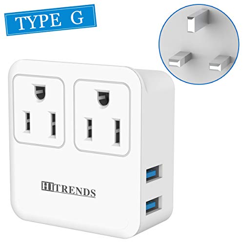 UK Power Adapter, Ireland London Hong Kong Travel Plug Adapter with 2 USB Ports for USA to British England Scotland - Safe Grounded, Compact, Light Weight (Type G)