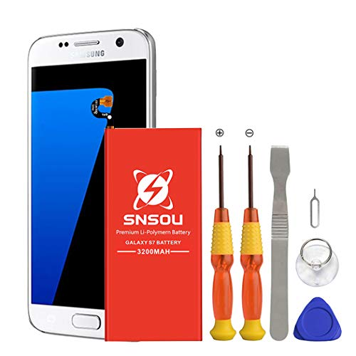 Galaxy S7 Battery, [Upgraded] SNSOU 3200mAh EB-BG930ABE Li-Polymer Replacement Battery for Samsung Galaxy S7 SM-G930 G930V G930T G930A G930P with Repair Replacement Kit Tools [1 Year Warranty] ()