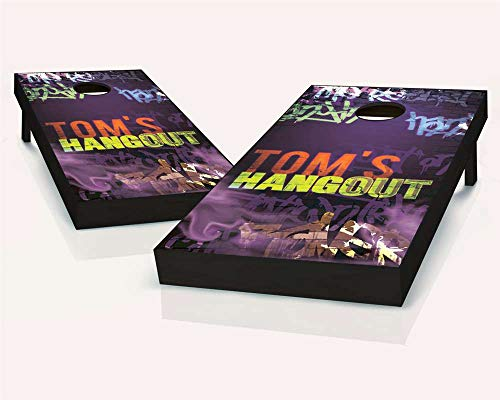 Skip's Garage Personalized Blacklight Hangout Cornhole Set - 2x4 (24