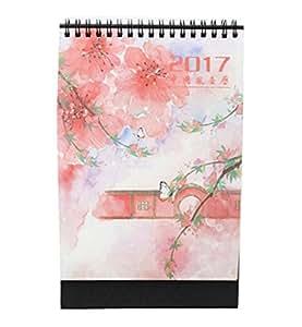 2017 Organizador hermoso del día del cuaderno 2017 del calendario del estilo de las flores, color de rosa