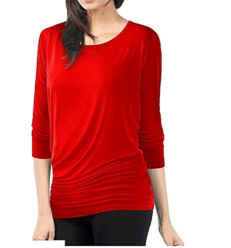 Cheryl Bull Graceful Womens Vogue Fold Bat Sleeve Solid Crewneck Top Bat shirt Red - Shopping Yoox