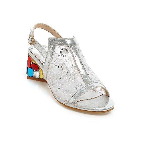 AmoonyFashion Womens Buckle Kitten Heels Sequins Assorted Color Open Toe Sandals Silver VUAUr3ziJ