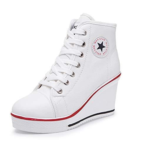 tudiants En Taille Chaussures Mode Modles Ct 8cm Compenses Toile 4 Ascenseur D'automne 2018 Dames blanc Casual Printemps Toramo D'explosion Uk Et De xXvqf4v
