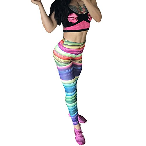 OVERMAL Leggings Women's Multicolor Casual Slim Splice Sports Yoga Pants