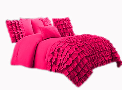 400 Thread Count 2 Piece Premium Waterfall Half Ruffle Duvet Cover Set with Extra Pillow Shams Twin XL 100% Egyptian Cotton Hot Pink price