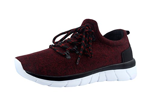 T&Mates Womens Fashion Casual Sneakers Lightweight Breathable Running Athletic Sports Shoes Wine Red
