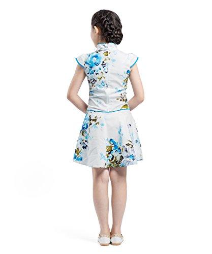 vestido fiesta traje estilo azul Floral Akaayuko cheongsam chino Girls Qipao gYpfqp8w