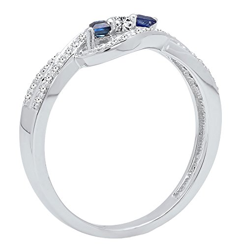 DazzlingRock Collection 14K Gold Princess Cut Blue Sapphire & Princess & Round Diamond Ladies 3 Stone Promise Ring