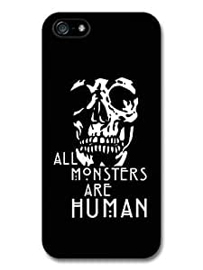 meilinF000AMAF ? Accessories American Horror Story Asylum All Monsters Are Human Quote Skull Black Background case for iPhone 5cmeilinF000