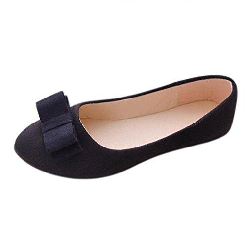 WINWINTOM Women's Sandals, Women's Summer Ballet Shoes Work Flats Bow Tie Slip Shoes Boat Comfortable Shoes Black