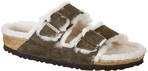 Birkenstock Clog Sandal - Birkenstock Arizona Forest Natural Shearling Suede Unisex Sandals 39 (US Women's 8-8.5)