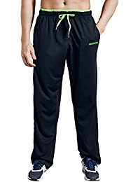 Men's Sweatpant with Zipper Pockets Open Bottom Athletic Pants for Jogging, Workout, Gym, Running, Training