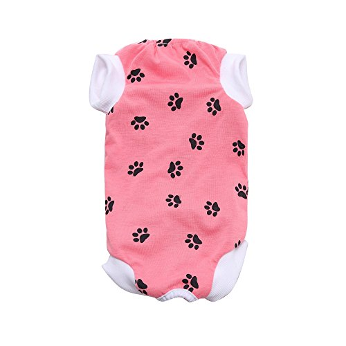 Pet Clothes Alternative for Cats and Dogs to Protect Abdominal Wounds Skin Disease Surgery Recovery Suit (M, -