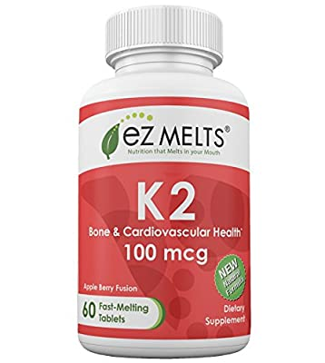 EZ Melts K2, 100 mcg, Fast Melting Tablets, Vitamin Supplement