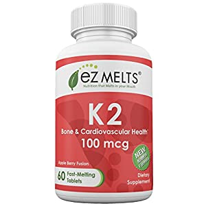 EZ Melts K2 as Menaquinone MK 7, 100 mcg, Sublingual Vitamins, Vegan, Zero Sugar, Natural Apple Flavor, 60 Fast Dissolve Tablets
